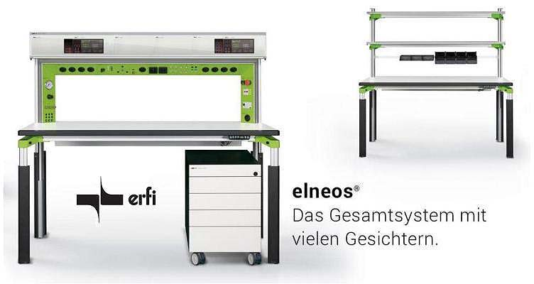 ERFI Elneos Connect height-adjustable work tables, ESD work tables